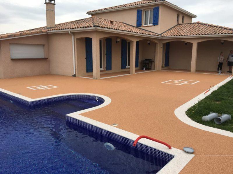 Revêtement plage piscine résine Toulouse